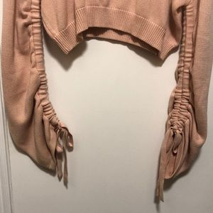 🔵DIVIDED Mauve Cropped Drawstring Sleeve Sweater